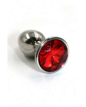 Анальная пробка из аллюминия с ярко-красным кристаллом (Small)