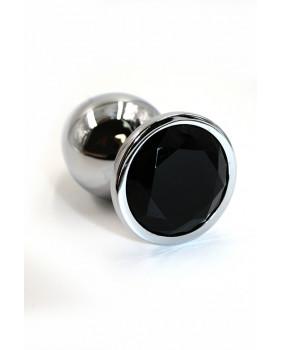 Анальная пробка из аллюминия с черным кристаллом (Small)