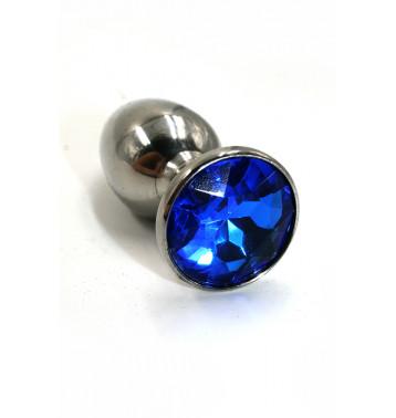 Анальная пробка из аллюминия с ярко-синим кристаллом (Small)
