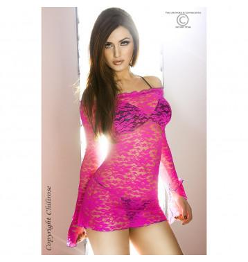 Кружевное мини-платье, L розовый