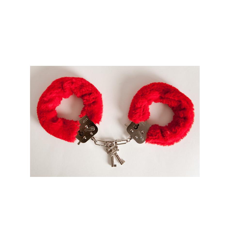 Наручники с красным мехом, с двумя ключами