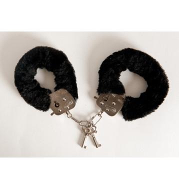 Наручники с черным мехом, с двумя ключами