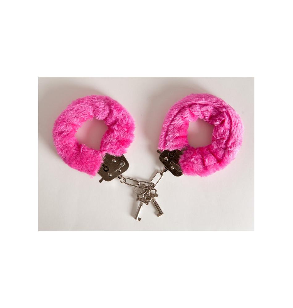 Наручники с розовым мехом, с двумя ключами