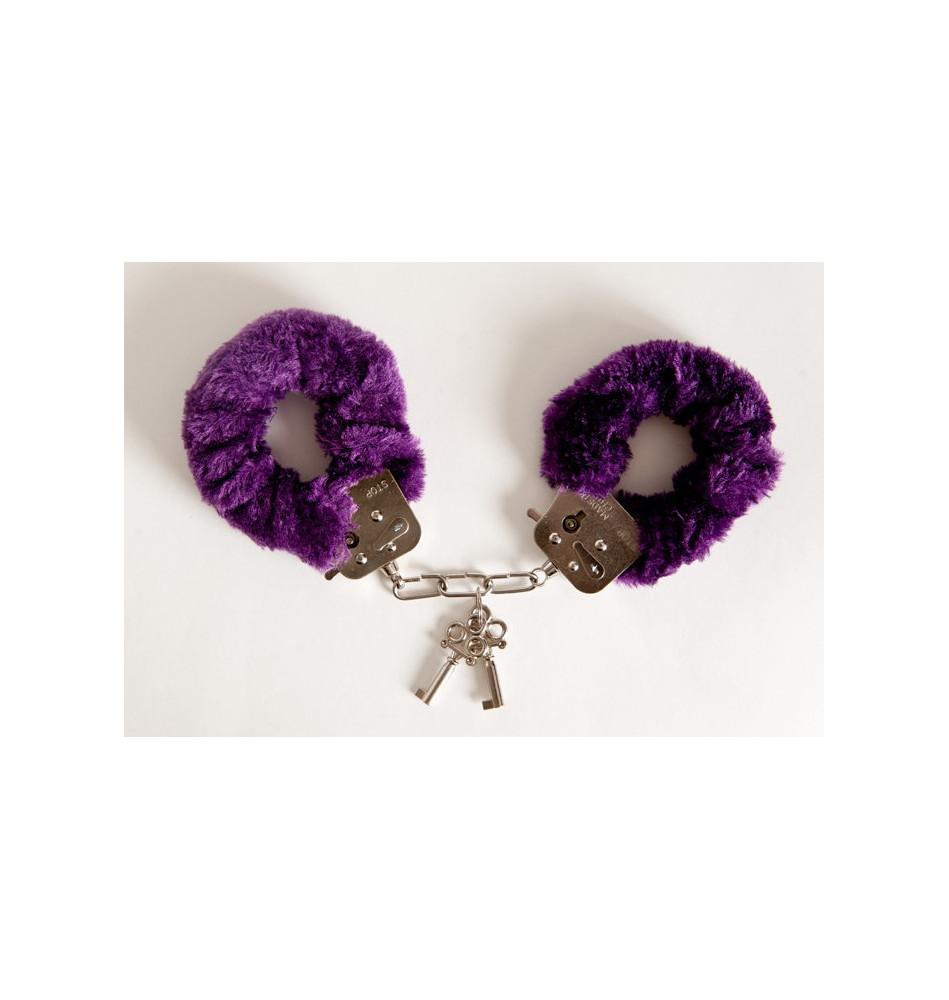 Наручники с фиолетовым мехом, с двумя ключами