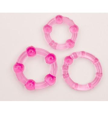 Набор из трех эрекционных колец, розовый