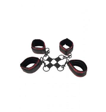 Фиксация для рук и ног крестообразная Scandal Hog Tie атласная черно-красная
