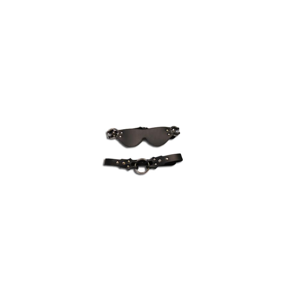 Маска + кляп-рамка Eye mask & ring gag кожаная черная