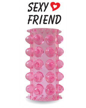 Насадка с пупырышками розовая