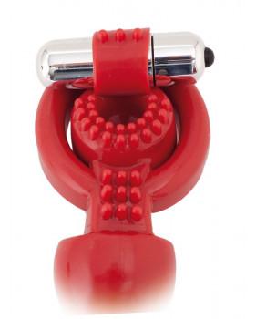 Вибронасадка с анальным стимулятором 17,5 см красная