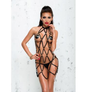 Платье из стреп лент Anita черное (Me Seduce)S/M