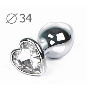 ВТУЛКА АНАЛЬНАЯ СЕРЕБРЯНАЯ, L 80 мм D 34 мм, вес 80г, цвет кристалла бесцветный