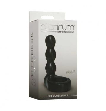 Насадка на пенис, Анальный фаллоимитатор с эрекционным кольцом Platinum Premium Silicone - The Double Dip 2 - Black