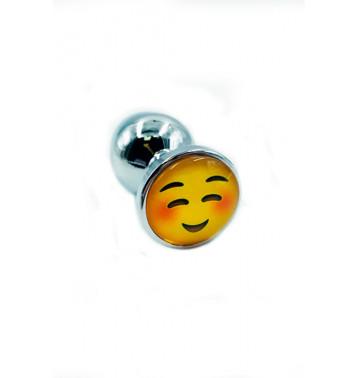 Металлическая анальная пробка emoji