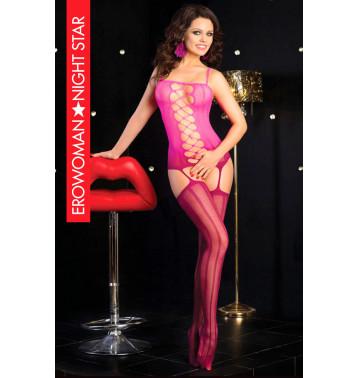 Боди сетка , цвет розовый/бордовый, размер S/L