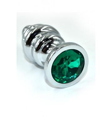 Серебряная ребристая анальная пробка с темно-зеленым кристаллом (Medium)
