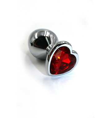 Серебряная анальная пробка с красным кристаллом в форме сердца (Large)