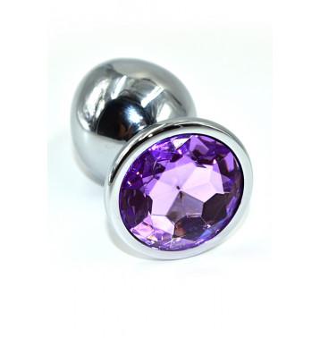 Серебряная анальная пробка с нежно-фиолетовым кристаллом (Large)