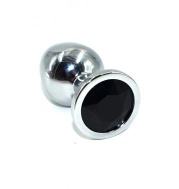 Серебряная анальная пробка с черным кристаллом (Medium)