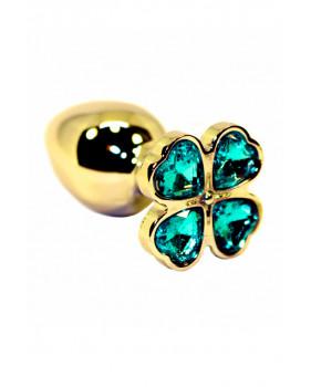 Золотая анальная пробка с нежно-голубыми кристаллами в форме цветка (Small)