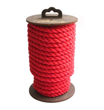 Хлопковая веревка для шибари, на катушке (Красная), 10 м.