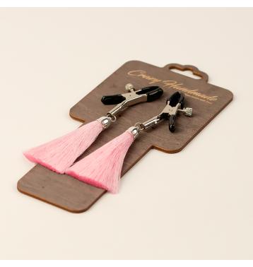 Зажимы на соски «прищепки» с кисточками из шелка (Розовый)