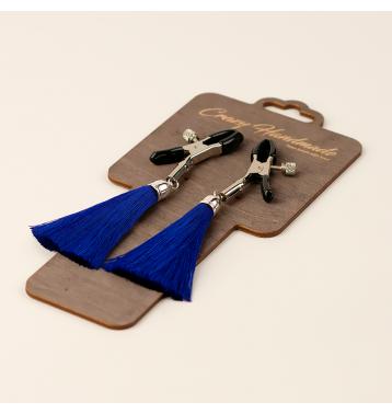 Зажимы на соски «прищепки» с кисточками из шелка (Синий)
