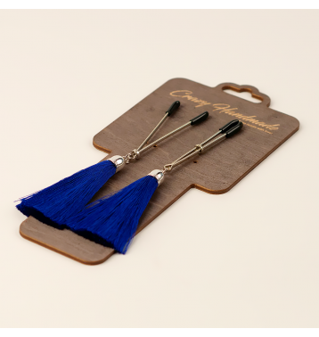 Зажимы на соски «вилки» с кисточками из шелка (Синий)