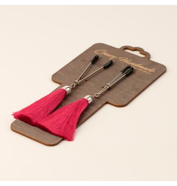 Зажимы на соски «вилки» с кисточками из шелка (Бордовый)