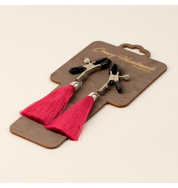 Зажимы на соски «прищепки» с кисточками из шелка (Бордовый)