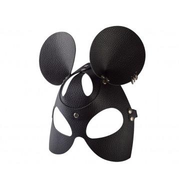 Маска Мышки черная с тиснением