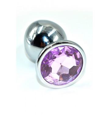 Серебряная анальная пробка с нежно-фиолетовым кристаллом (Large).