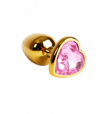 Золотая анальная пробка с нежно-розовым кристаллом в форме сердца
