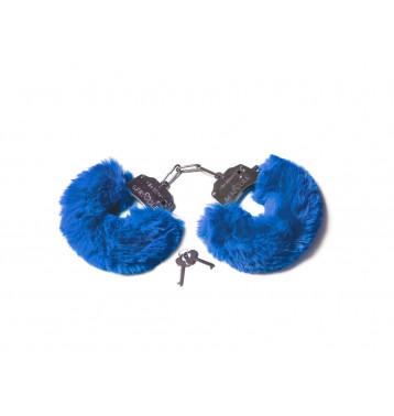 Шикарные наручники с пушистым мехом цвета кобальт (Be Mine)