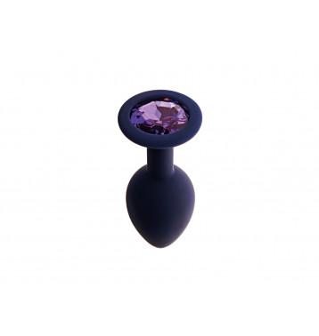 Анальная пробка с кристаллом Gamma, цвет Черничный + фиолетовый кристалл, размер L