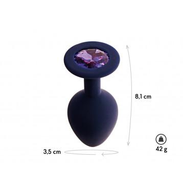 Анальная пробка с кристаллом Gamma, цвет Черничный + фиолетовый кристалл, размер M