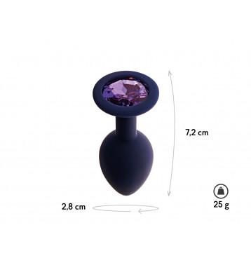 Анальная пробка с кристаллом Gamma, цвет Черничный + фиолетовый кристалл, размер S