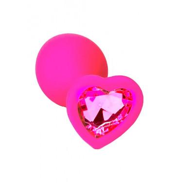 Розовая анальная пробка из силикона с розовым кристаллом в форме сердца