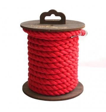 Хлопковая веревка для шибари, на катушке (Красная), 5 м.