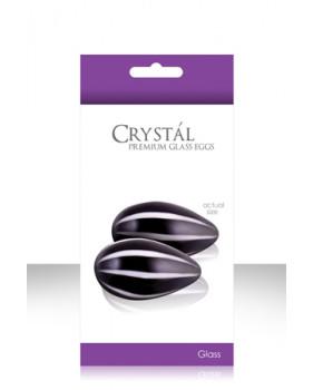 Вагинальные шарики CRYST'AL KEGEL EGGS из стекла черные