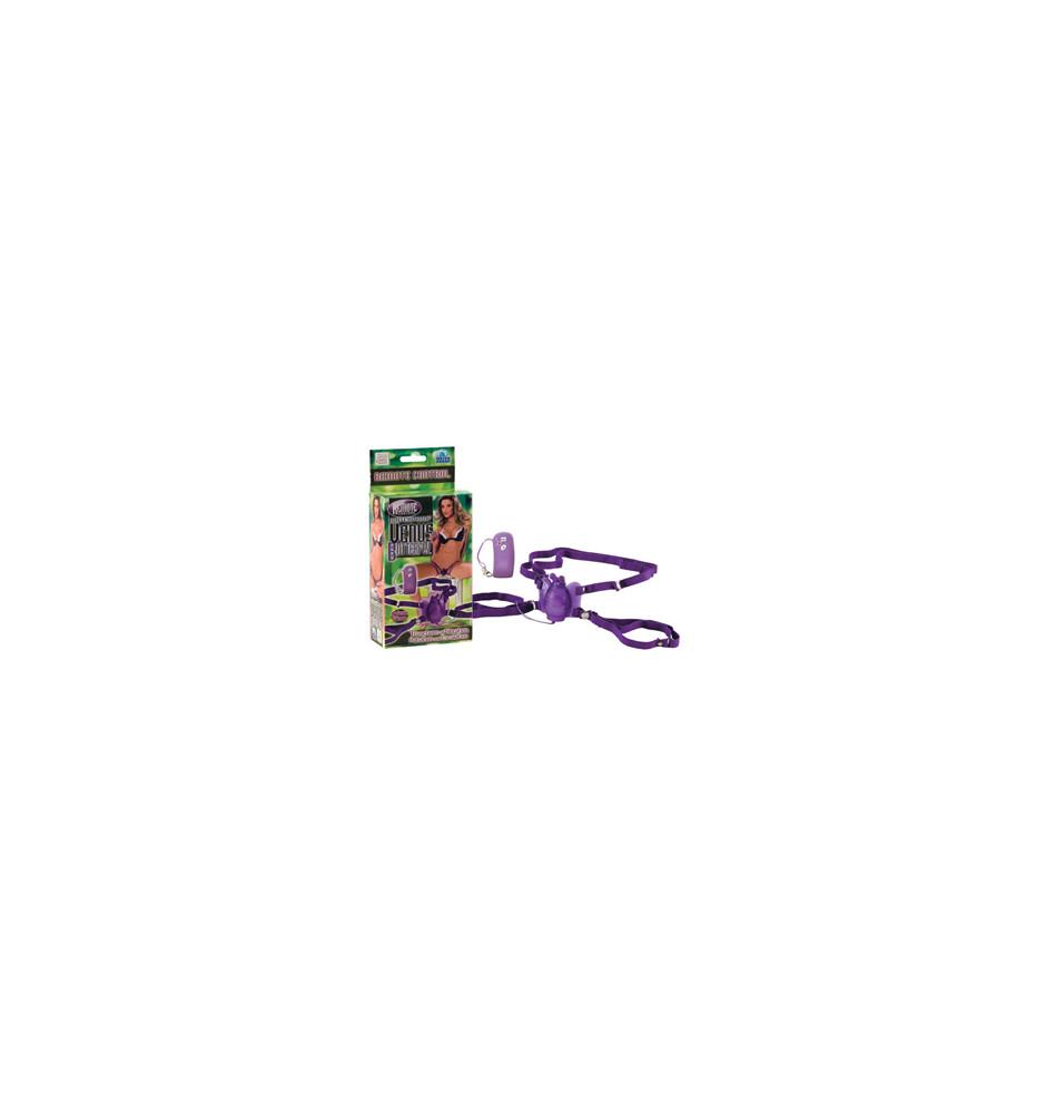 Стимулятор клитора на ремнях Remote Waterproof Venus Butterfly на радиоуправлении фиолетовый