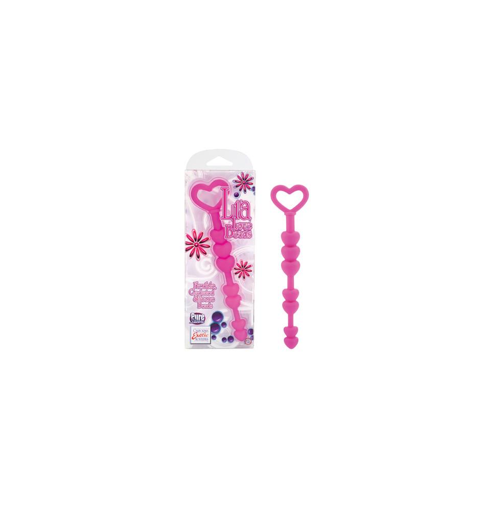 Анальная цепочка LIA LOVE BEADS из силикона розовая