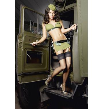 Игровой костюм ОБОЛЬСТИТЕЛЬНИЦА МИЛИТАРИ: топ, мини-юбка и пилотка SM