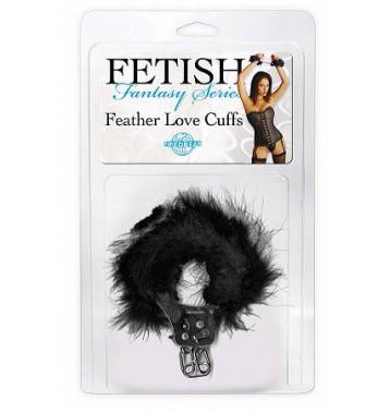Наручники металлические Feather Love Cuffs с пухом черные