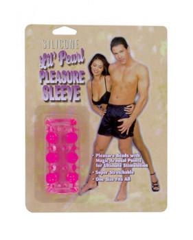 Насадка Silicone Lil' Pearl Pleasure Sleeve с бусинками розовая