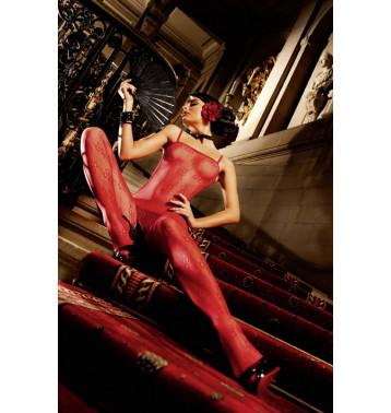 Красный кружевной боди-комбинезон